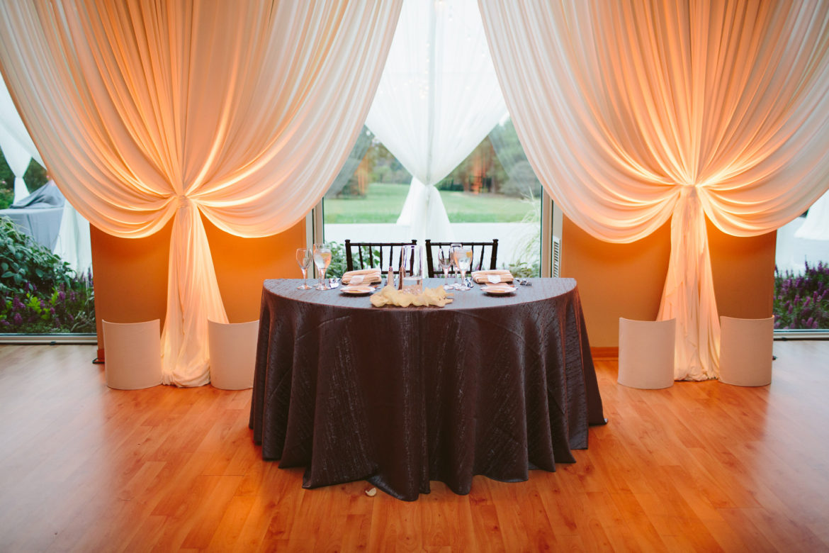 Elegant_Event_Lighting_Chicago_The_Morton_Arboretum_Lisle_Thornhill_Wedding_Ivory_Draping_Amber_LED_Uplighting