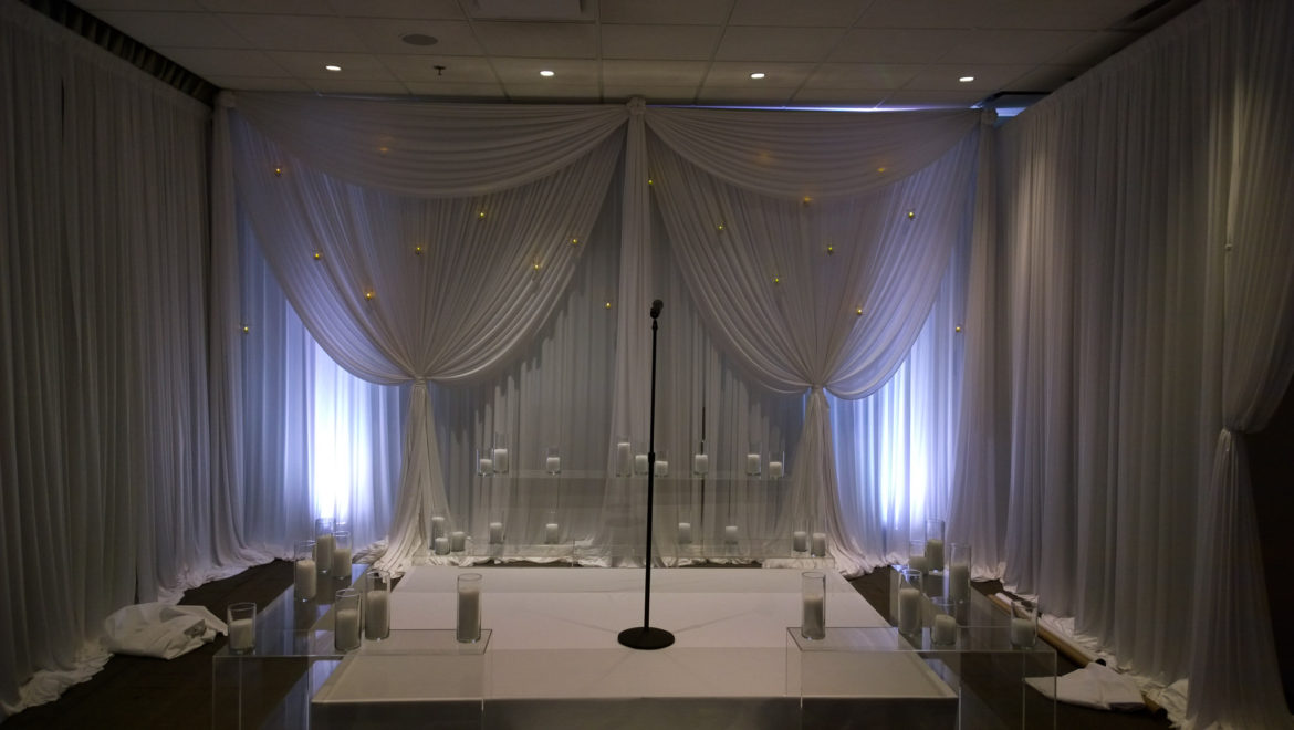 Elegant_Event_Lighting_Chicago_Thompson_Hotel_Wedding_Candles_White_Draping_Backdrop_Romantic