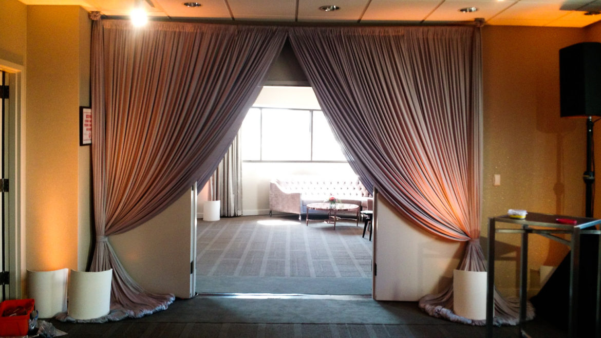 Elegant_Event_Lighting_Chicago_Thompson_Hotel_Wedding_Silver_Entrance_Draping