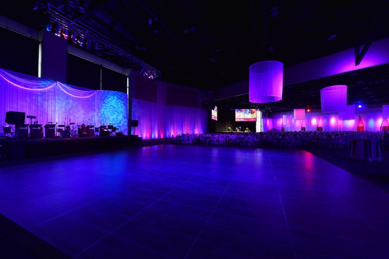 Elegant_Event_Lighting_Chicago_Tinley_Park_Wedding_Blue_Red_Amber_Uplighting_White_Backdrop_Room_Draping_Ring-Lighting