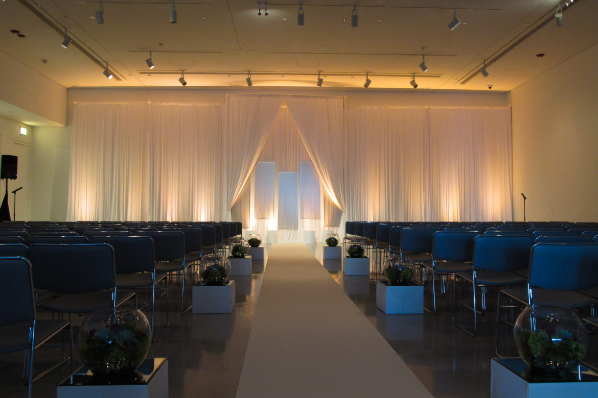 Elegant_Event_Lighting_Chicago_Venue_Six_10_Wedding_Ivory_Draping_Backdrop_Metal_LED_Uplighting