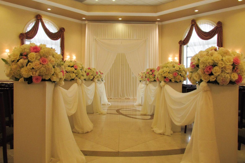 Elegant_Event_Lighting_Chicago_Venutis_Addison_Wedding_Arch_Draping_White_Ceremony