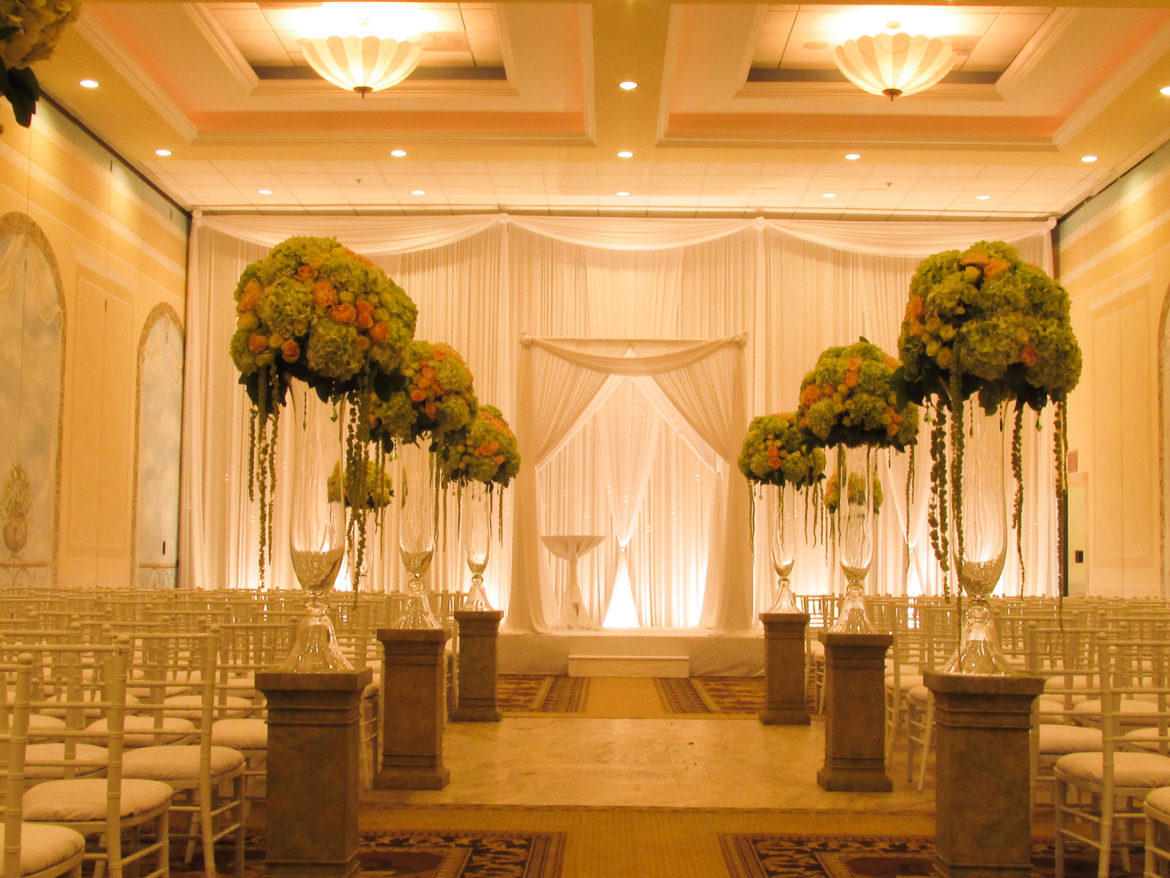 Elegant_Event_Lighting_Chicago_Venutis_Addison_Wedding_Bridal_Canopy_Chuppah_White_Draping_Backdrop_Stage_Cover