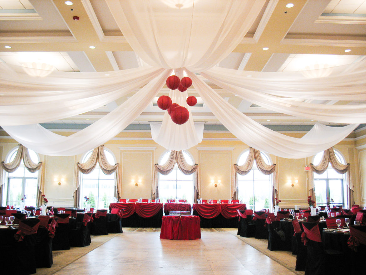 Elegant_Event_Lighting_Chicago_Venutis_Addison_Wedding_Ceiling_Drapes_Red_Paper_Lanterns