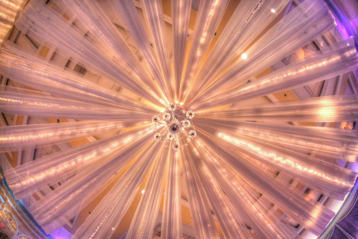 Elegant_Event_Lighting_Chicago_Venutis_Addison_Wedding_Crystal_Backdrop_Glitter_Purple_Uplighting_Ceiling_Drapes_Chandelier
