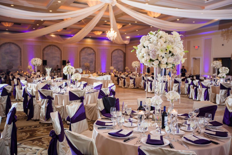 Elegant_Event_Lighting_Chicago_Venutis_Addison_Wedding_Flower_Centerpiece_Lighting_LED_Uplighting_Ceiling_Drapes