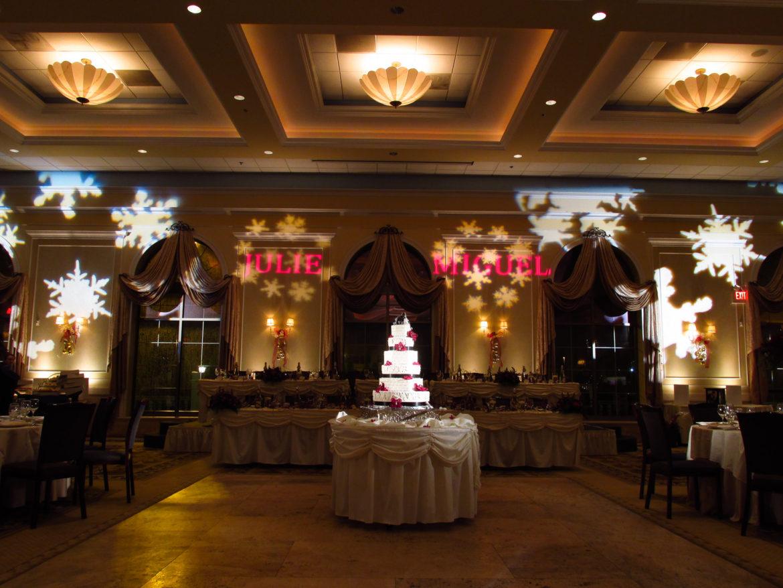 Elegant_Event_Lighting_Chicago_Venutis_Addison_Wedding_Monogram_Pattern_Snowflake_Lighting_Cake_Reception