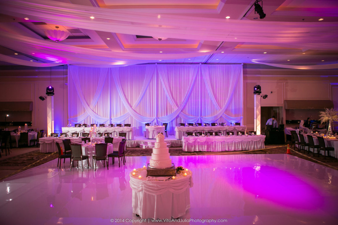 Elegant_Event_Lighting_Chicago_Venutis_Addison_Wedding_Sweetheart_Backdrop_Pink_LED_Uplighting_Ceiling_Drapes_White_Vinyl_Dance_Floor