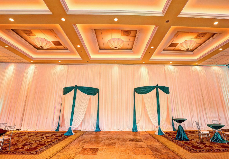 Elegant_Event_Lighting_Chicago_Venutis_Addison_Wedding_White_Draping_Entrance_Teal