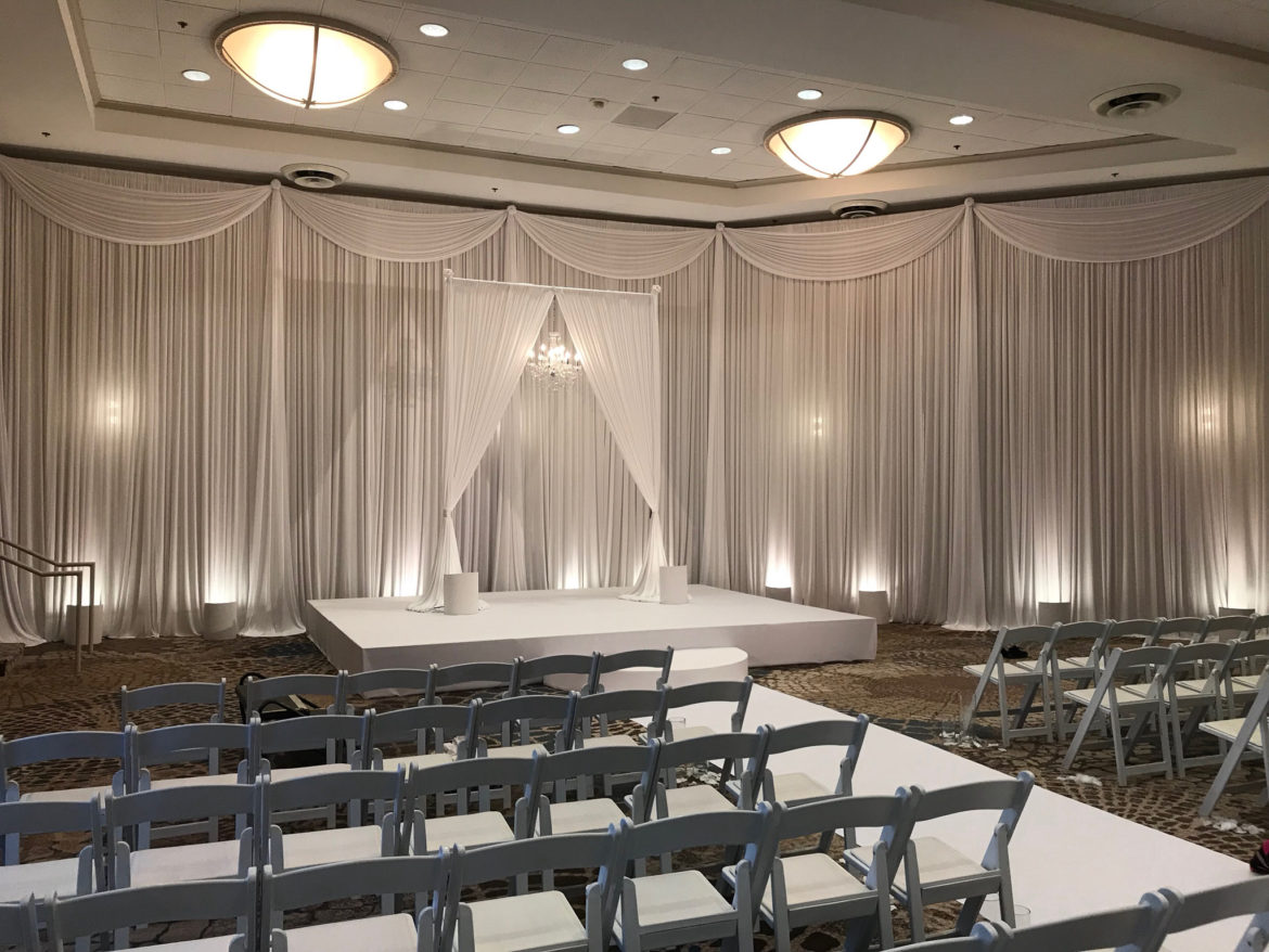 Elegant_Event_Lighting_Chicago_Westin_Itasca_Wedding_White_Draping_Ceremony_Arch_Crystal_Chandelier