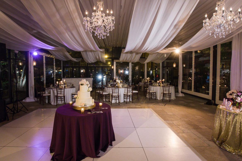 Elegant_Event_Lighting_Galleria_Marchetti_La_Pergola_Wedding_Ceiling_Drapes_Reception_Crystal_Chandelier