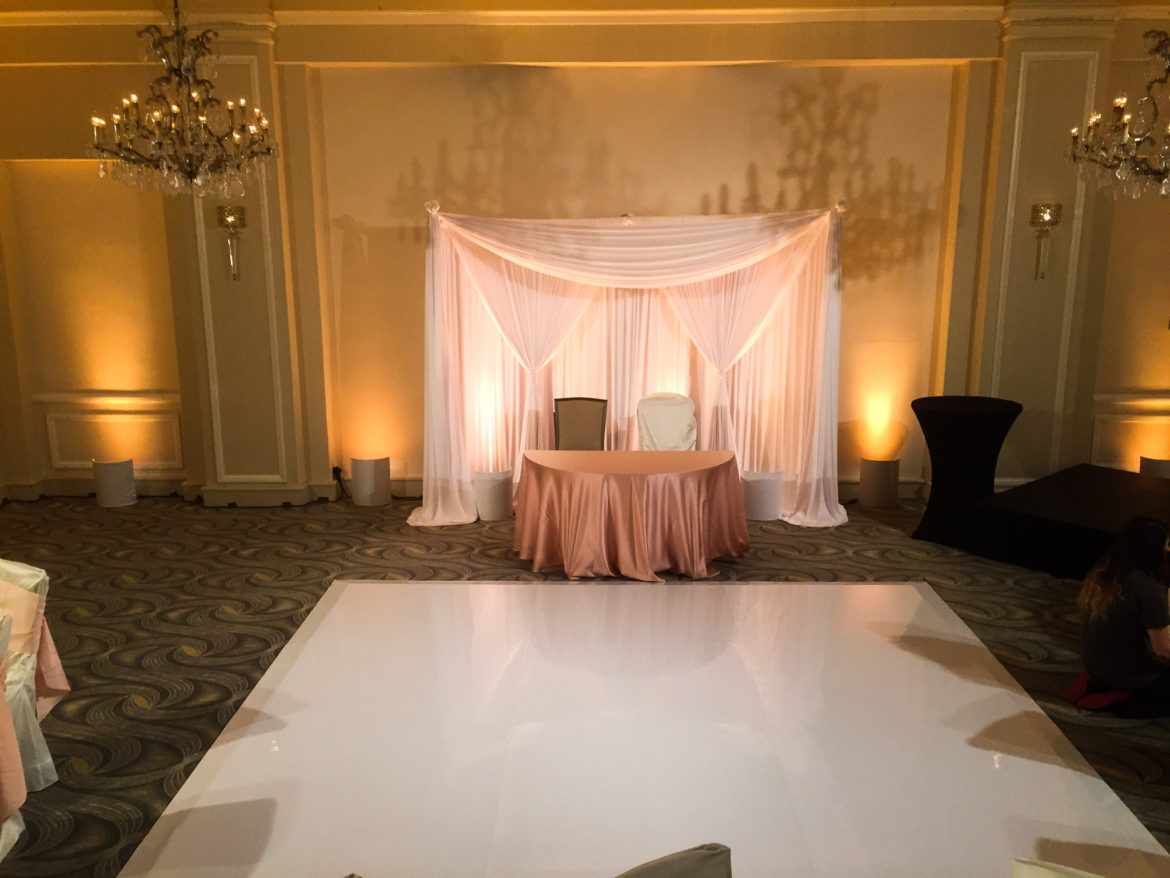 legant_Event_Lighting_Chicago_Orrington_Hilton_Evanston_Amber_Uplighting_Wedding_Ivory_Backdrop_Draping_White_Vinyl_Dance_Floor