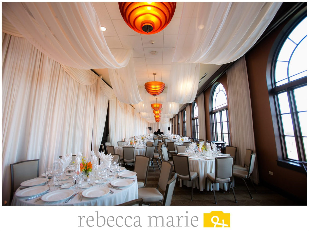 Elegant_Event_Lighting_Chicago_Orrington_Hilton_Evanston_Wedding_Uplighting_Ivory_Backdrop_Draping_Cloud_Ceiling_Drapes
