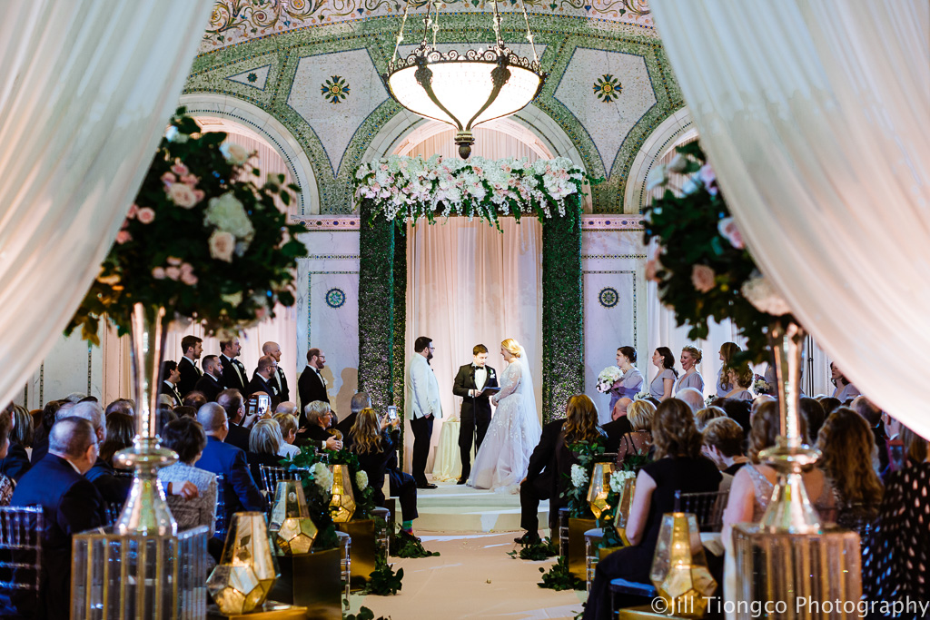 Elegant_Event_Lighting_Chicago_Cultural_Center_Preston_Bradley_Hall_Ceremony_Entrance_Drape_Aisle_runber_Blush_Pink