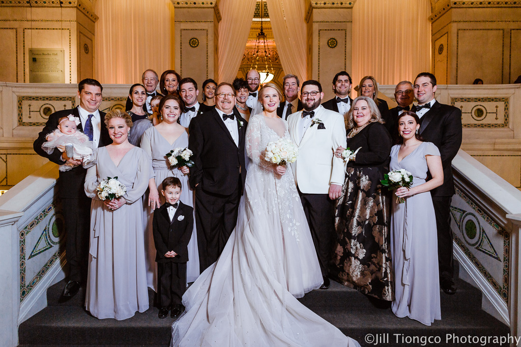 Elegant_Event_Lighting_Chicago_Cultural_Center_Preston_Bradley_Hall_Family_Photo_Ivory_Entrance_Draping