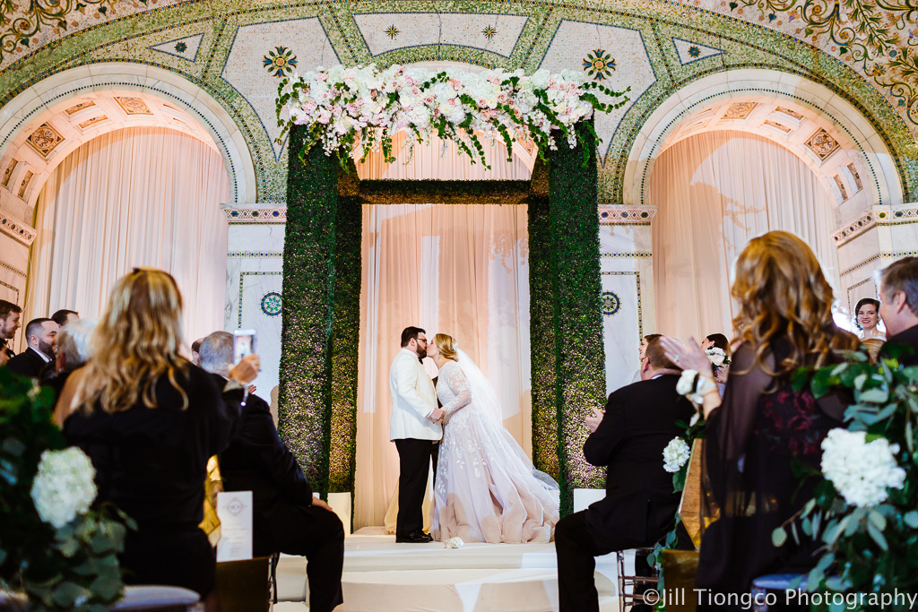 Elegant_Event_Lighting_Chicago_Cultural_Center_Preston_Bradley_Hall_First_Kiss_Ivory_Draping_Blush_Pink_Uplighting