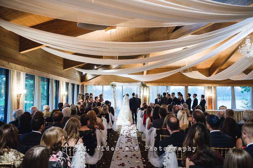 Elegant_Event_Lighting_Chicago_Kemper_Lakes_Kildeer_Wedding_Ceremony_White_Sheer_Ceiling_Drape