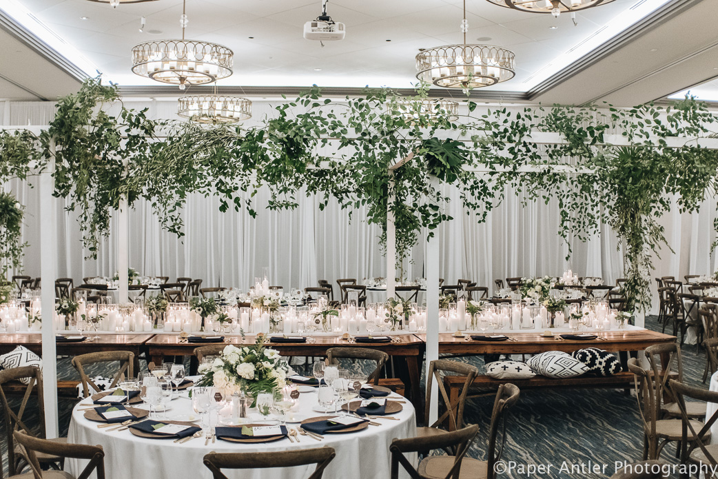 Elegant_Event_Lighting_Edgewater_Hotel_Wisconsin_Wedding_White_Room_Draping_Reception_Chuppah