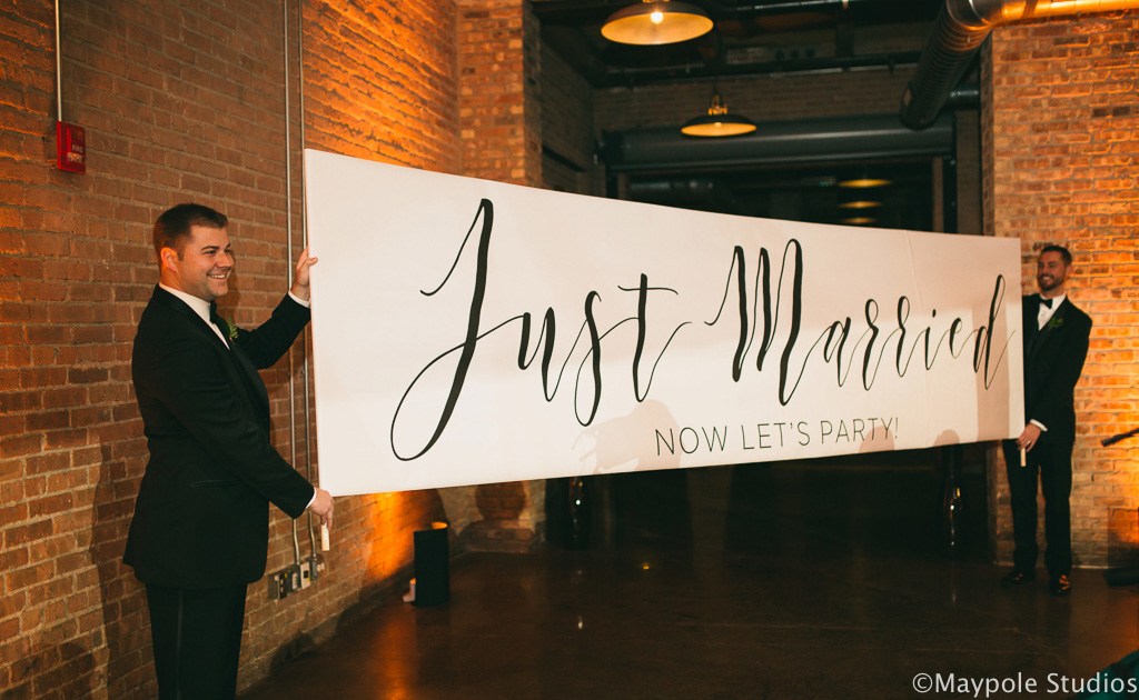 Elegant_Event_Lighting_Morgan_Manufacturing_Chicago_Wedding_Just_Married_Banner
