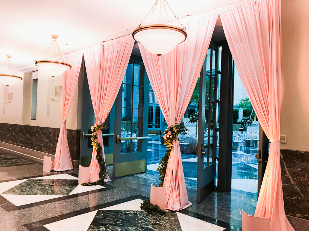 Elegant_Event_Lighting_Chicago_Wedding_Harold_WAshington_Library_Entrance_Draping_Pink_Fleur