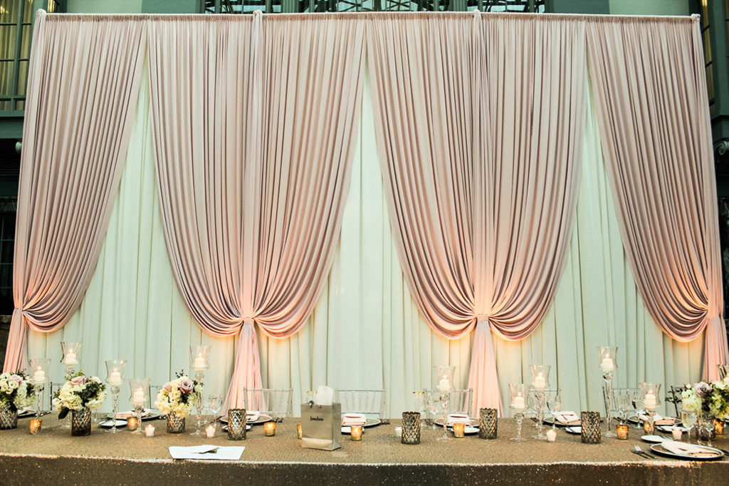 Elegant_Event_Lighting_Chicago_Wedding_Harold_Washington_Library_Fabric_Backdrop_Spring