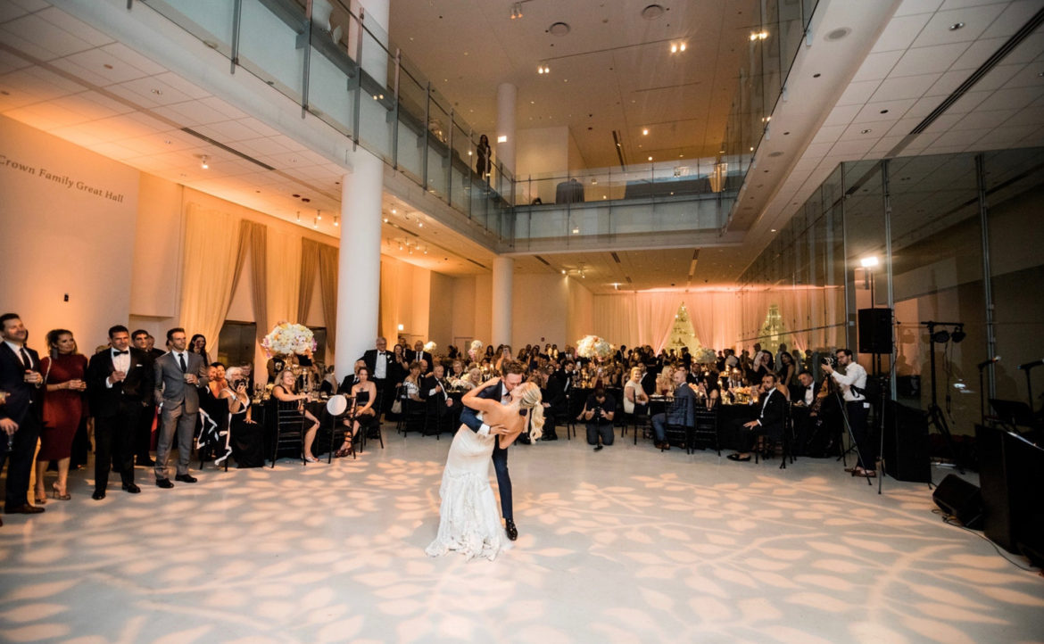 Elegant_Event_Lighting_Venue_Six10_Chicago_Wedding_Pattern_Lighting_Dance_Floor_Bride_Groom_Dancing