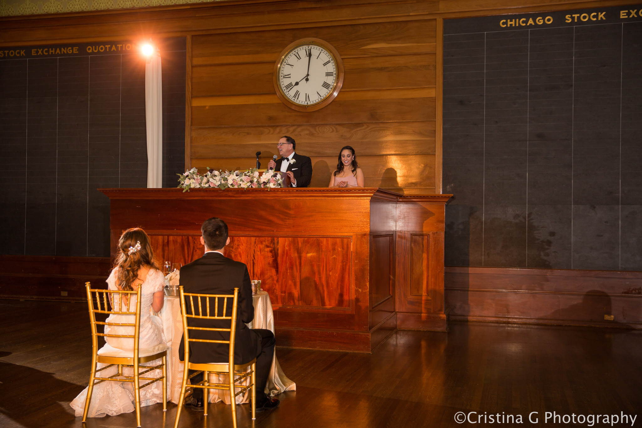 Megan & Matt's Wedding Lighting at the Art Institute Stock Exchange Room