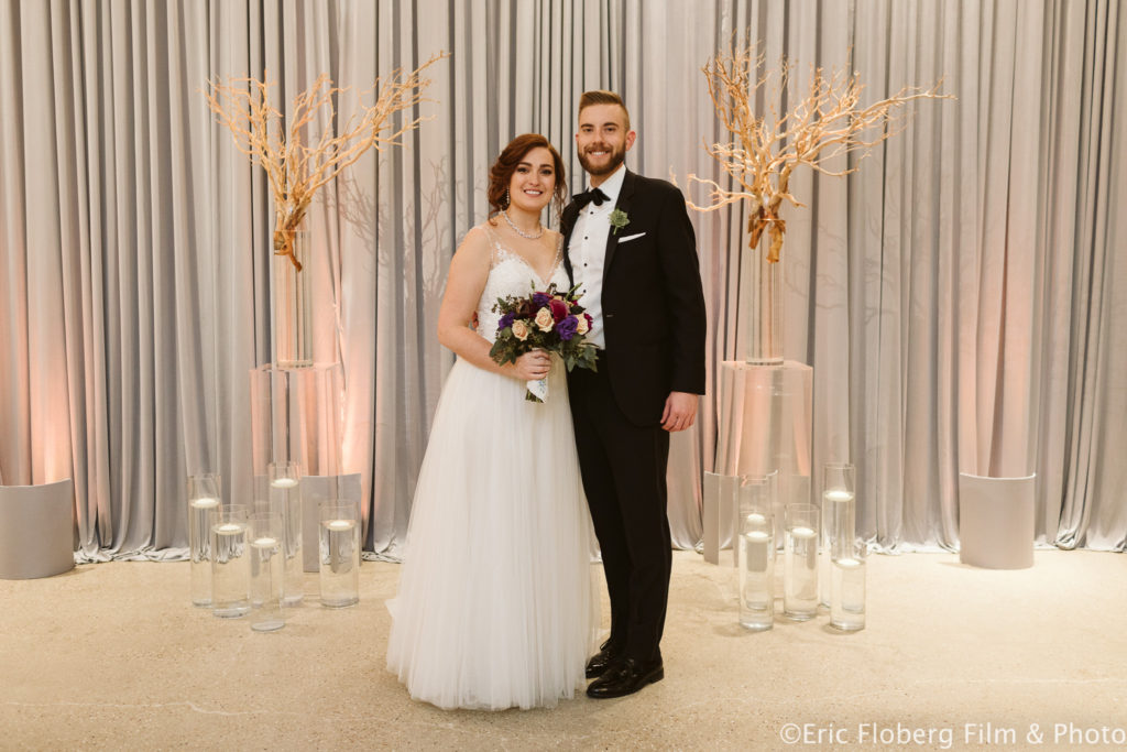 Elegant_Event_Lighting_Chez_Chicago_Wedding_Grey_Draping_SIlver_Ceremony_Peach_Uplighting