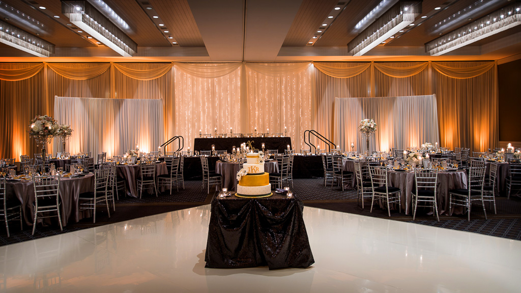 Elegant_Event_Lighting_Hotel_Arista_Naperville_Wedding_White_Vinyl_Dance_Floor_Fairy_Light_Ivory_Draping_Amber_Uplighting