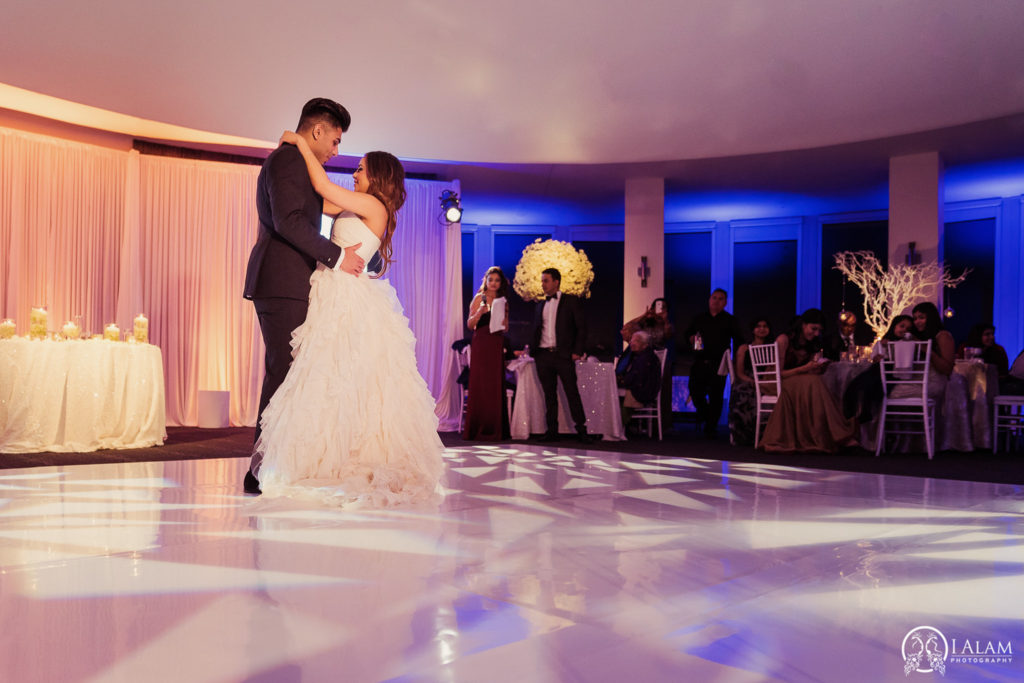 Elegant_Event_Lighting_W_Hotel_Chicago_Wedding_First_Dance_Amber_Blue_Pattern_Lighting_White_Dance_Floor